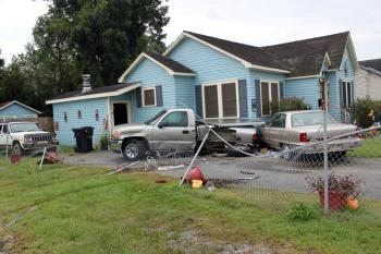 The damage from a weekend wreck remained at the Plowdens' home in Abbeville Monday morning.